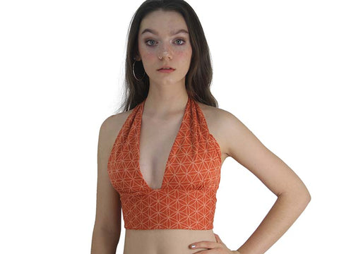 Reversible Halter Top - Flower of Life and Geometric, Orange