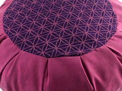 Meditation cushion in faux suede, Flower of Life - PINK - Global Groove Life