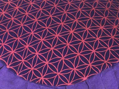 Meditation cushion in faux suede, Flower of Life - PURPLE - Global Groove Life