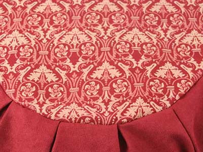 Detail Rhapsody print in RED. Zafu meditation cushion. Global Groove Life.