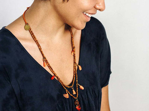 Rudraksha, Tassel & Sandalwood Necklace - Global Groove Life