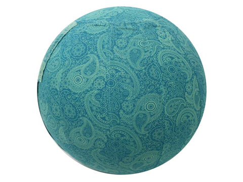 45cm Balance Ball /Yoga Ball Cover: Teal Paisley - Global Groove Life