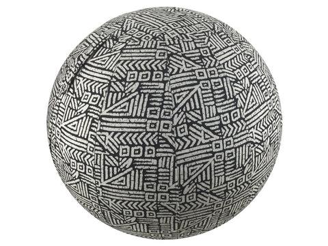 Balance Ball / Yoga Ball Cover: Black Tribal Block Yoga Ball Cover - Global Groove Life