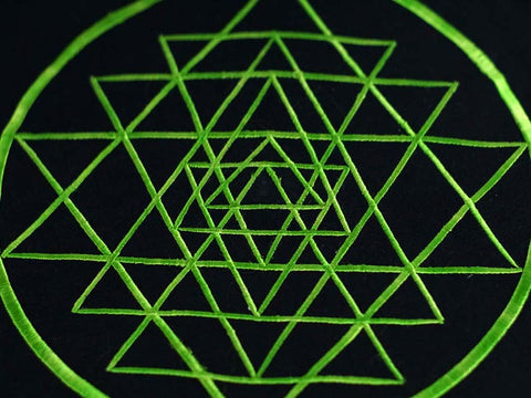 Detail of hand-embroidered Yantra pattern in LIME.