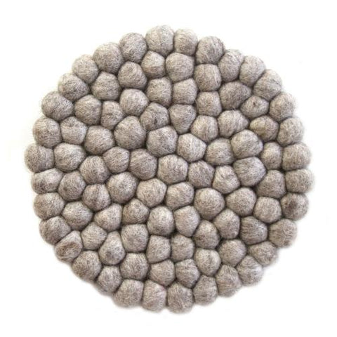 Hand Crafted Felt Ball Trivets from Nepal: Round, Light Grey - Global Groove (T) - Global Groove Life