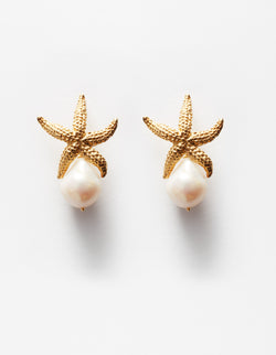 Golden Starfish Pearls Earrings. Pendientes. Orecchini.