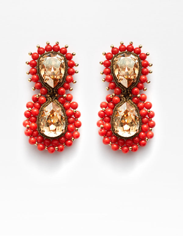 Golden Swarovski crystal and Sardinian red coral Earrings. Pendientes. Orecchini.