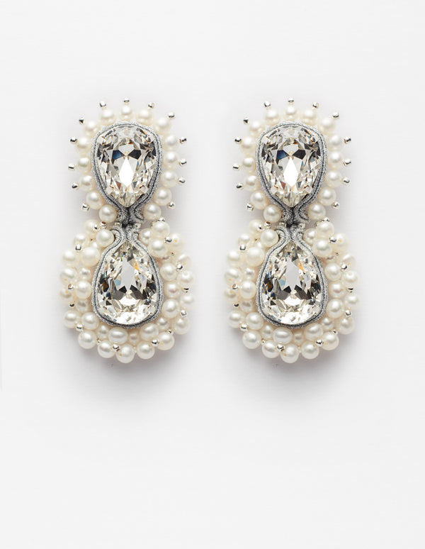 Silver Swarovski crystal and freshwater pearls earrings. Pendientes. Orecchini.