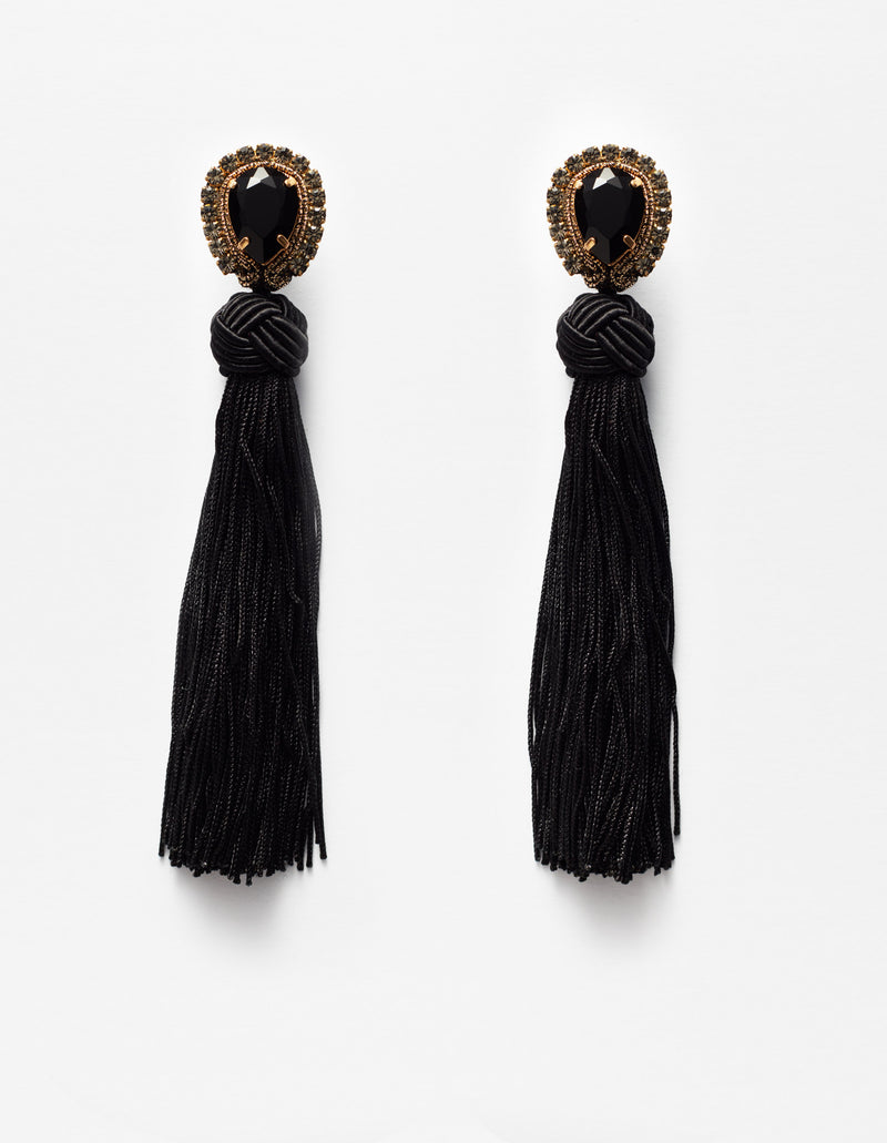 Swarovski crystal earrings with black fringes. Pendientes. Orecchini.