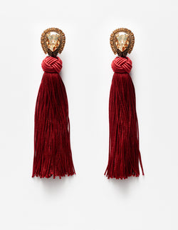 Swarovski crystal earrings with red fringes. Pendientes. Orecchini.