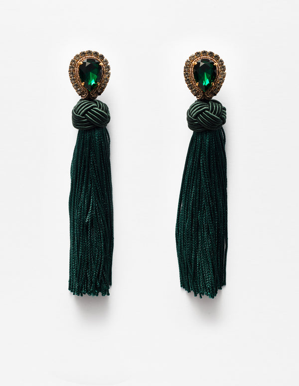 Swarovski crystal earrings with green fringes. Pendientes. Orecchini.