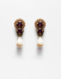 Violet amethyst Swarovski crystal and baroque pearls earrings. Pendientes. Orecchini.