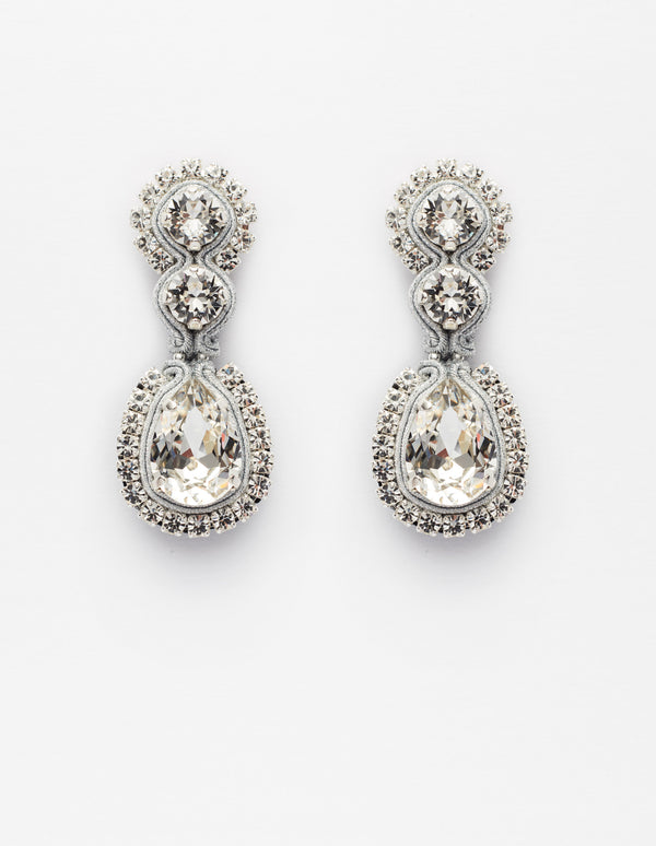 Silver Swarovski crystal earrings. Pendientes. Orecchini.