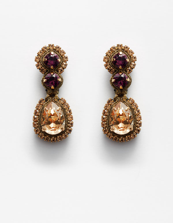 Violet amethyst and gold Swarovski crystal earrings. Pendientes. Orecchini.