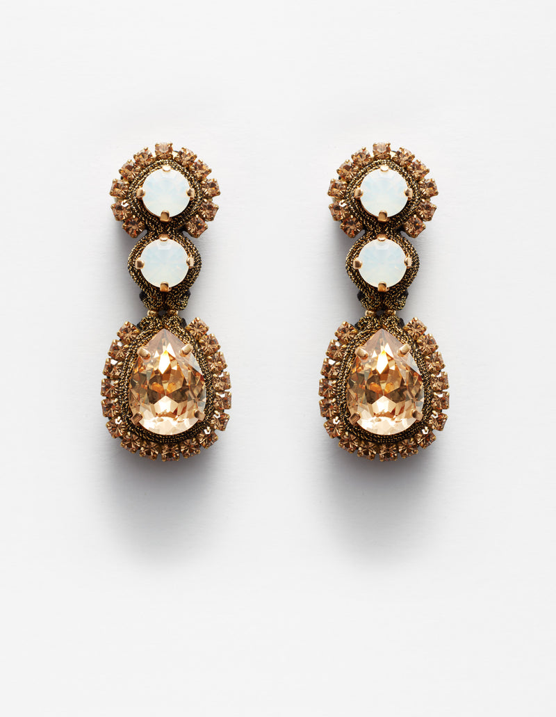 White opal and gold Swarovski crystal earrings. Pendientes. Orecchini.