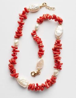 Red coral and freshwater pearls necklace. Collar Collana.