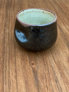 Wine, Tea or Macchiato Cup, Black / White Clay Edge