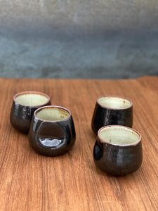 Wine, Tea or Macchiato Cup, Black / White Clay Edge Set of 4