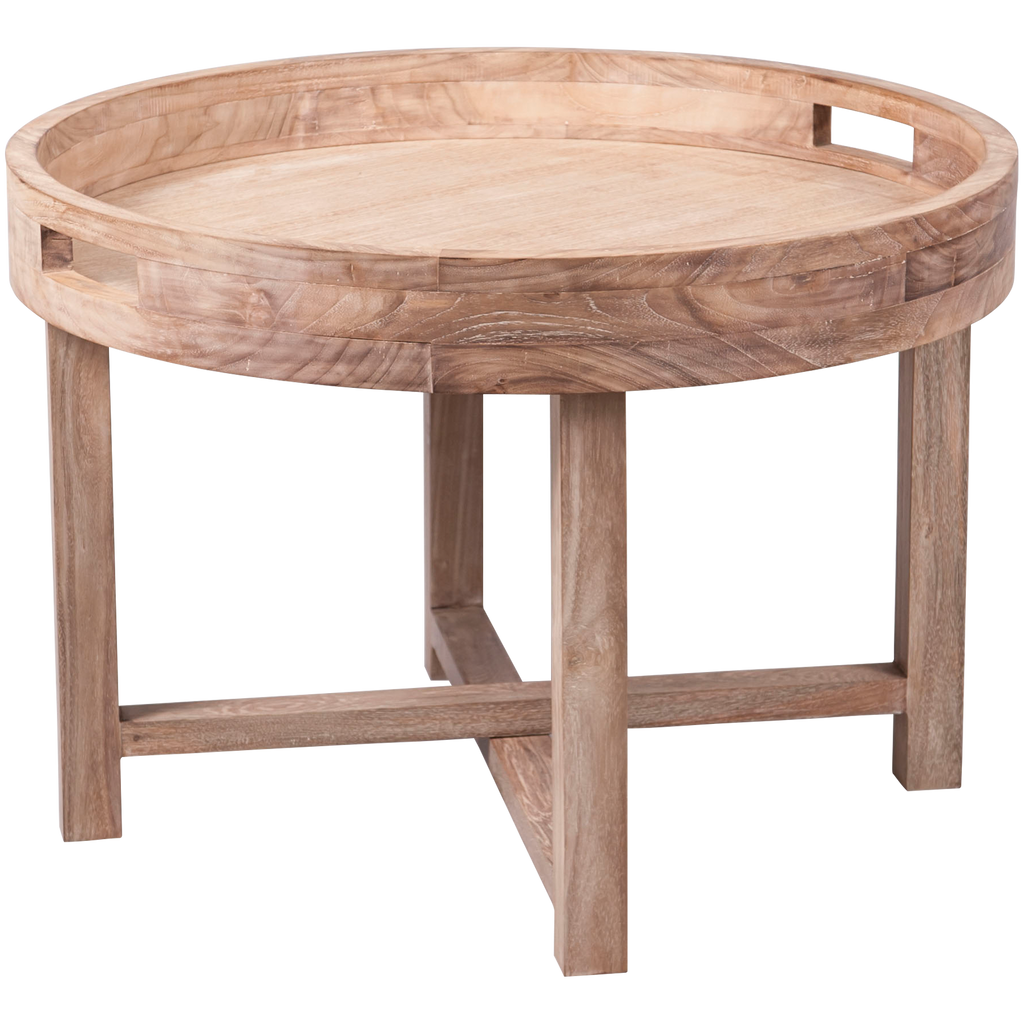 310076 Birani Round Table Tray With Folding Leg Wood