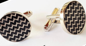 Black enamel chevron cufflinks
