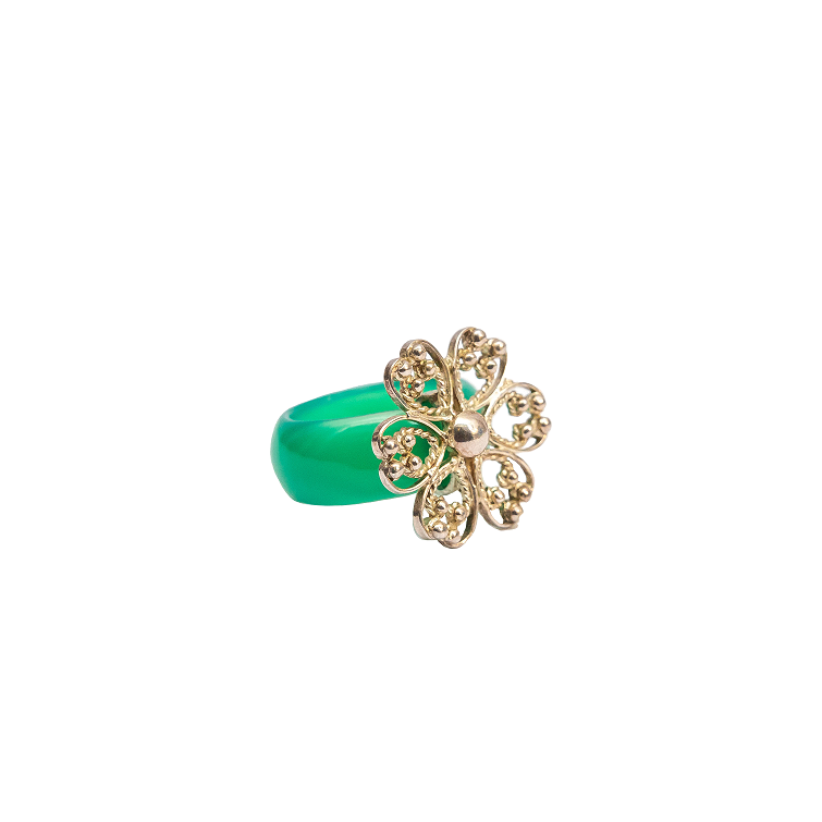 Green agate ring