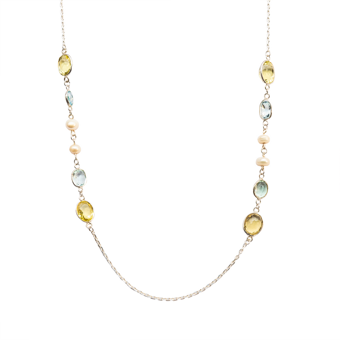 Lemon quartz, aquamarine & pearl chain