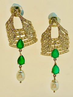 Green onyx, fresh water pearl and American diamond earrings