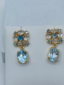 Blue & White topaz earrings