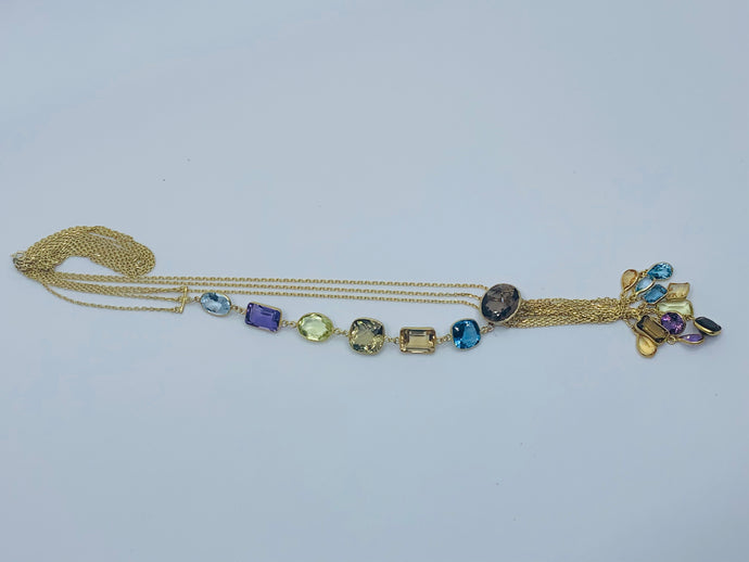 Mixed gemstone long necklace