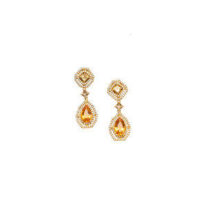 Citrine & American Diamond earrings