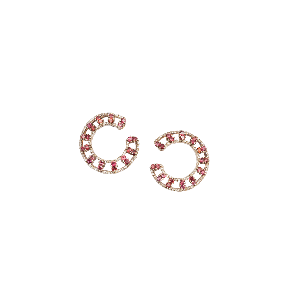 Rose garnet & American Diamond hoop earrings