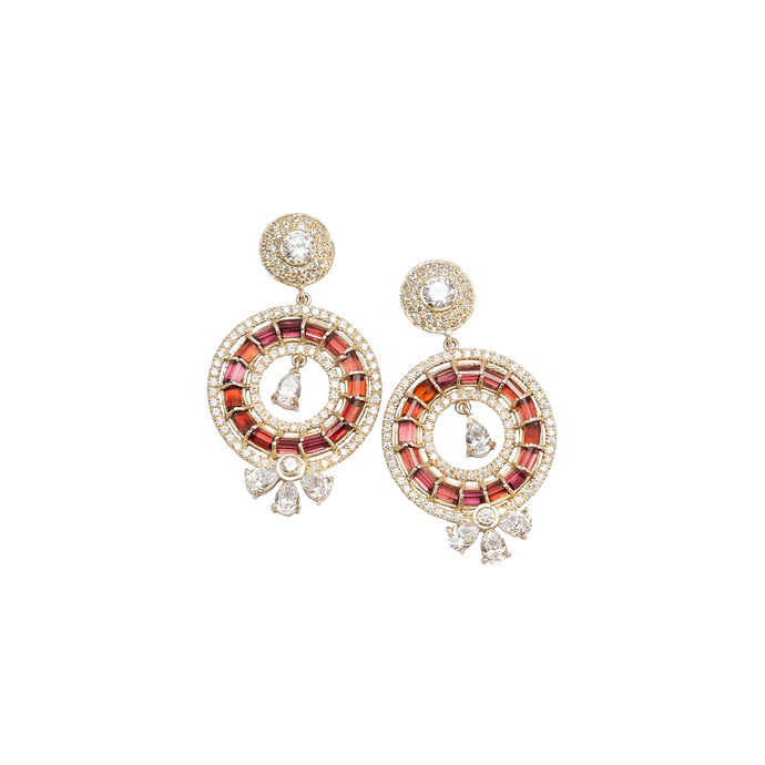 Garnet & American diamond earrings