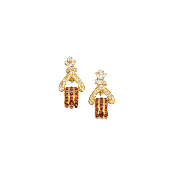 Hessonite garnet & American diamond earrings