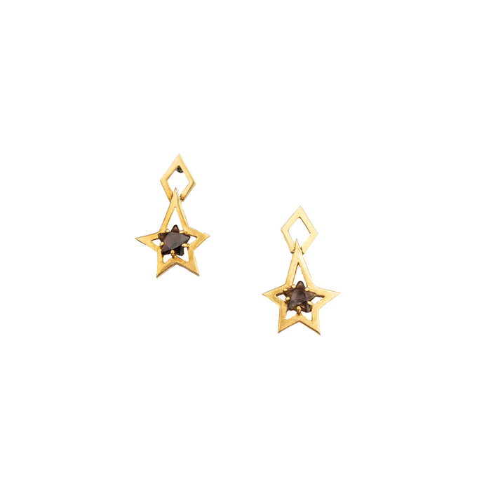 Smoky topaz star earrings