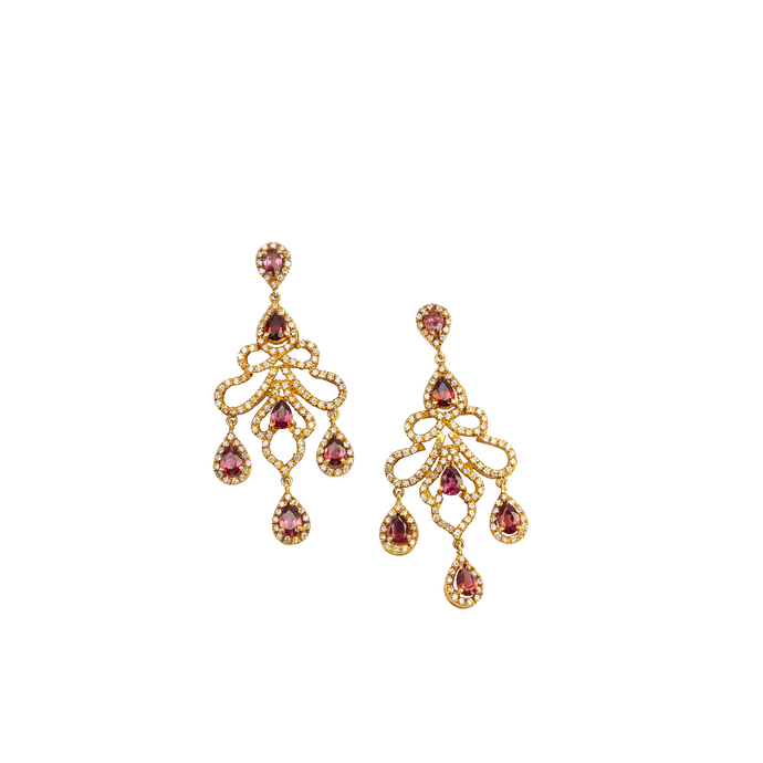 Rose garnet & American diamond chandelier earrings