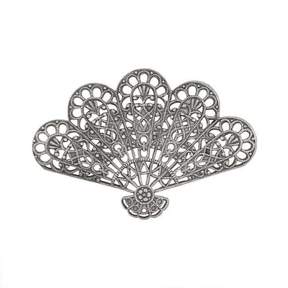 2 Pieces European Made Antiqued Silver Plated Brass for Vintage Style Jewelry Making Supplies Fan Shell Shaped Filigree
