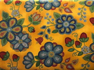 Quilting Cotton  - Beaded Flower mustard - 1/2 meter