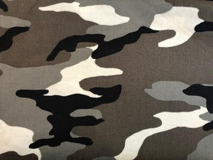 Quilting Cotton  - Camo black and white - 1/2 meter