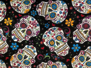 Quilting Cotton  - Candy Skulls  - 1/2 meter
