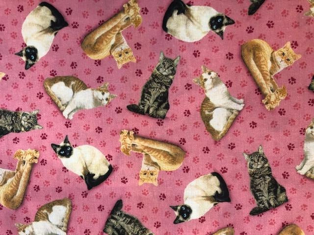 Quilting Cotton  - Cats Pink - 1/2 meter