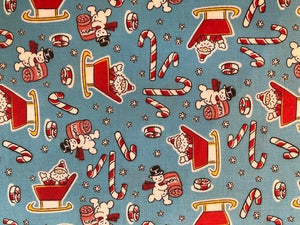 Quilting Cotton - Christmas Candy Canes - 1/2 metre