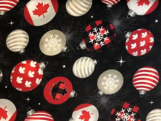 Quilting Cotton  - Christmas Bobbles Canada - 1/2 meter