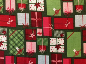 Quilting Cotton -  Christmas presents green - 1/2 metre