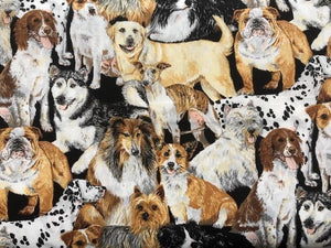 Quilting Cotton  - Classic Dogs - 1/2 meter