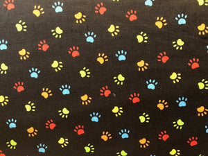 Quilting Cotton  - Colorful Paws - 1/2 meter