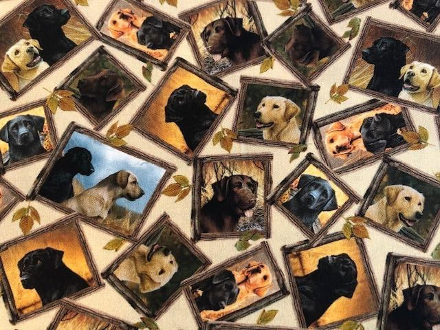 Quilting Cotton  - Dogs Picture Frame - 1/2 meter