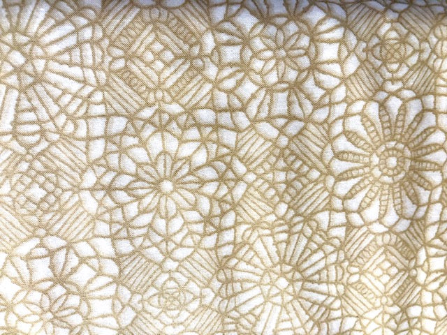 Quilting Cotton - Embroidered flower  beige- 1/2 meter