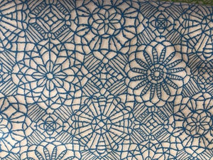 Quilting Cotton - Embroidered flower blue - 1/2 meter