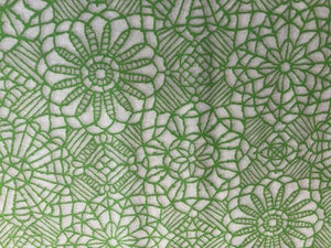 Quilting Cotton - Embroidered flower green - 1/2 meter