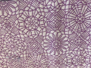 Quilting Cotton - Embroidered flower  purple- 1/2 meter